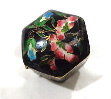 vintage Chinese floral enamel cloisonne pill/snuff box