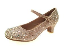 Kids Girls Mary Jane Party Shoes Diamante Glitter Bridesmaids Heels Size UK 9-3