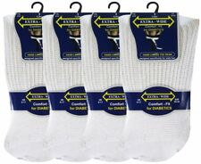 3 Pair Mens Extra-Wide Comfort fit Diabetic Socks Non Elastic White 6-11