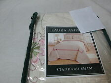 New Laura Ashley Arabella Embroidery Floral Standard Pillow Sham - Pink/Ivory