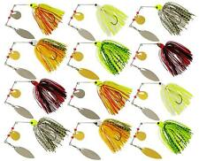 12pcs Fishing Spinner Spoon Baits Pike Bass Jigs Head Rubber Fishing Lure Tackle