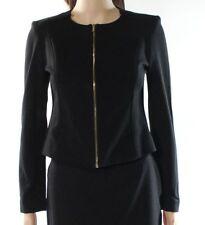Calvin Klein Womens Seamed Black Full-Zip Jacket, Size 6P Petite  NEW!