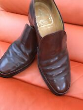 Men's SADDLE BROWN Leather Crockett & Jones SLIP ON Shoes UK 7.5 E - Towcester