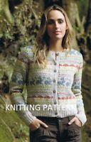"(357) Ladies Cardigan Copy Knitting Pattern Beautiful Fair Isle in DK up to 51"""