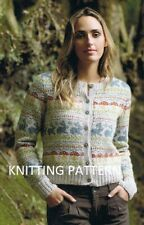 (357) Ladies Cardigan COPY Knitting Pattern Beautiful Fair Isle in DK. 90-130cm