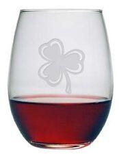 Stemless Wine Glasses Shamrock Design Set/4 Hand Etched Gifts St Patricks Day
