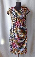 Joseph Ribkoff Multi Color Faux Wrap Fetted Sheath Floral Dress Size UK 16 US14