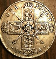 1916 GREAT BRITAIN GEORGE V SILVER FLORIN COIN