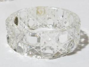 Set of 6 Vintage Czech Cut Glass Napkin Rings Hob Nail Pattern