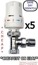 """5 x THERMOSTATIC RADIATOR VALVES 15mm x 1/2"""" with REDUCING KIT *BARGAIN*"""