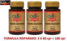 OBIRE CARDO MARIANO 400 Mg - 3 x 60= 180 Cpr CURA EPATITE RIGENERANTE FEGATO