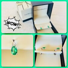 10k Emerald W/ Small Diamond Chip Earring Fred Myers Jeweler NIB Retail $295