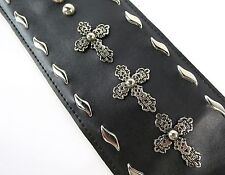 Christian Cross / Goth WIDE & Beefy Leather Custom Strap FREE USA Shipping