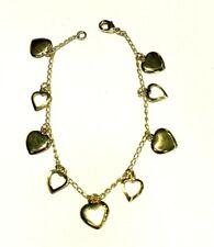 "Bracelet 7"" Nwt Gold Tone Hanging Heart"