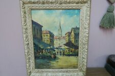 """Vintage Oil on Board Painting Signed  11""""x15""""  Framed 16""""x21"""" Paris City Scene"""