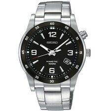 Seiko Kinetic SKA505 P1 Silver Black Dial Men's Automatic Watch with Seiko Box