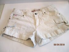 Mudd White Shorts Women's Size 7 Cotton Blend Side Buckle Down Leg Pockets
