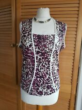 Marks & Spencer Sleeveless Corset style Vest Top 14 Animal Print Burgundy Mix