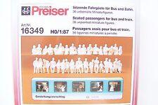 HO Preiser 36 UNPAINTED Seated Bus and Train Passenger Figures KIT # 16349