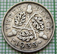 GREAT BRITAIN GEORGE V 1935 THREEPENCE 3 PENCE, SILVER