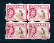 SOMALILAND 1953 DEFINITIVES SG143 50c (BIRD) BLOCK OF 4 MNH