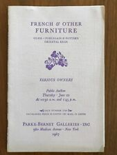French Other Furniture Glass Porcelain Pottery Parke Bernet Auction Catalog 1967