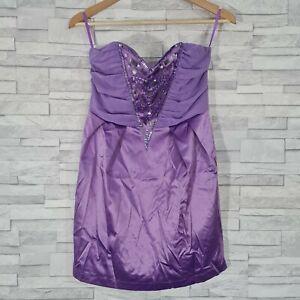 New MAX C London Mini Dress Size 10UK Purple Satin Beaded Chiffon Bandeau Party
