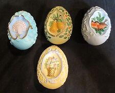 "Decorated Heavy 4 Colorful Eggs Birds Shells Flowers Pears 3 1/2"" Long"