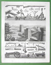 ARMS & Military Engines of Ancient Romans & Middle Ages - SUPERB Antique Print