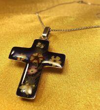 "925 Fine Sterling Silver Resin Flower Cross Pendant W/16"" Chain Necklace"
