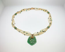 """Vintage Estate Green Jade Seed Pearls Solid 14k Yellow Gold Pendant 21"""" Necklace"""