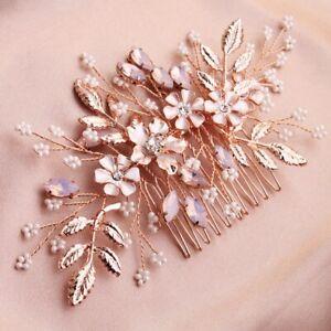 Bridesmaid Bridal Wedding Rose Gold Floral Pearl Crystal Leaf Hair Comb