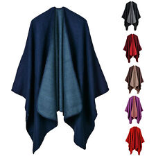 Luxury Celeb Cashmere Like Poncho Blanket Wrap Shawl Cape Cloak Solid Noble Chic