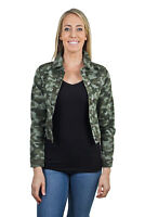 Women's Juniors Premium Stretch Denim Long Sleeve Camouflage Jacket