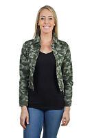 Women's Juniors Premium Stretch Denim Long Sleeve Camouflage Jacket