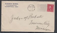 USA 1914/22 PARMLY HOTEL COVER & POSTCARD PAINESVILLE OHIO TO TRAVERSE CITY MI
