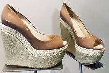 Taccetti Italian Designer Wedges Nude Patent Leather Peep Toe $495 NEW