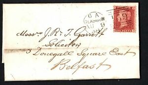 GB 1858 1d Red QJ on Cover Glasgow to Belfast
