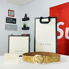 "Authentic Gucci guccissima Belt Vintage Beige • Gold GG Buckle 28-32"" Leather"