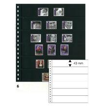 10 Lindner 06P Omnia Fiches de Stock Noir 2x 6 Rayures Poches 245x43 MM