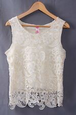 Cream lace top short sleeve ladies lined size small