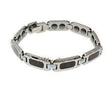 "Tungsten Hawaiian Koa Wood 10mm Men's Bracelet 7.5"""