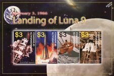LUNA 9 Russian Spacecraft Soft Moon Landing 4v Space Stamp Sheet (2000 Dominica)