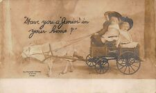 Studebaker Goat Pulling Wagon Children Advertising RPPC Postcard