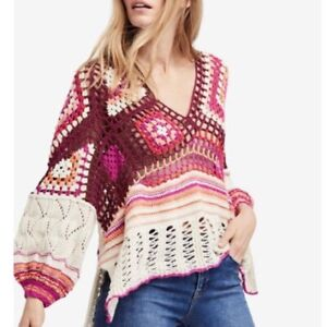 JUMPER CROCHET OPENWORK 8/10 XS/S BY FREE PEOPLE PINKS/PEACH/CREAM ORP £161 BNT