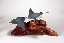 Manta Rays by John Perry 12in long airbrushed sculpture New direct from Studio