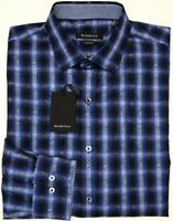 NEW $125 Bugatchi Long Sleeve Shirt Shaped Fit Mens Blue Plaid NWT 100% Cotton
