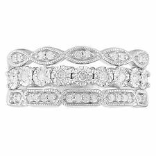 1/4 cttw Diamond 3 Layer Band Ring, Sterling Silver
