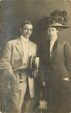 RPPC Postcard; Well Dressed Young Couple w/ Hats Posted Seattle WA 1910