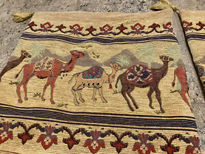 Antique Embroidery Tuareg Berbers Camel Textile Linen Pillow Cover Case Tapestry
